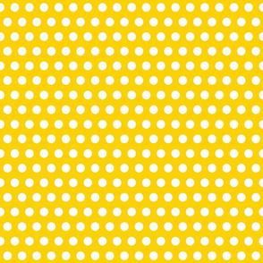 White Polka Dots on Mustard