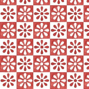 Mini Daisy Tile - Spanish Red