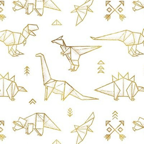 Gold origami dinosaurs
