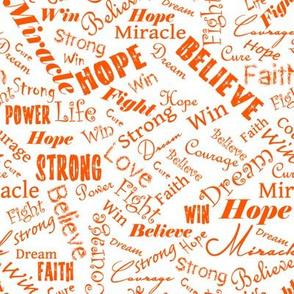 Cancer Positive Words - Oranges
