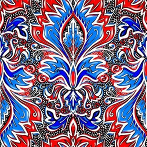 red white and blue damask