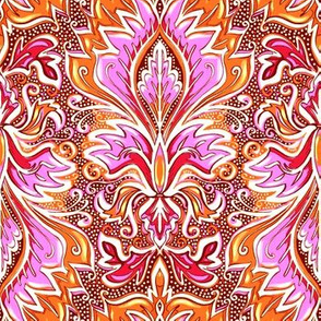 pink and orange damask