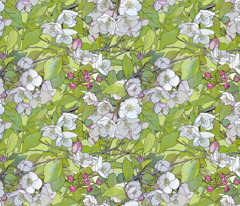 Apple Blossoms fabric by dianewarren on Spoonflower - custom fabric