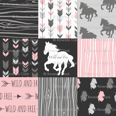 Horse Patchwork - Pink and And Black -Wild and Free Horses