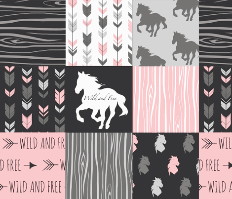 Horse Patchwork - Pink and And Black -Wild and Free Horses fabric by sugarpinedesign on Spoonflower - custom fabric