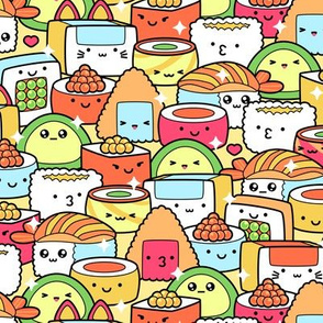 Colorful Kawaii Sushi with Sparkles Medium Scale