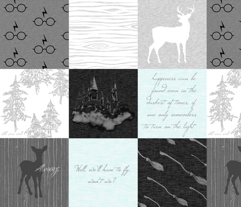 Always Quilt - Mint - Wizard quotes fabric by sugarpinedesign on Spoonflower - custom fabric