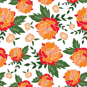Orange rose pattern