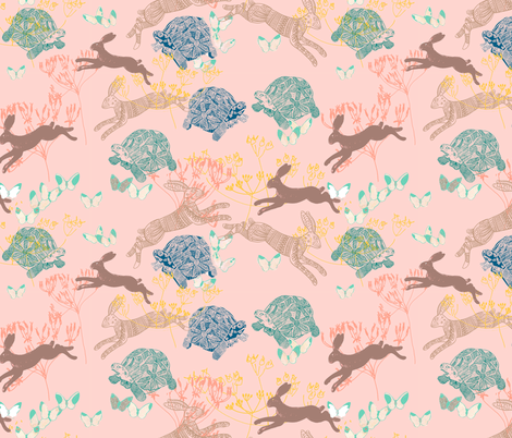 the hare and the tortoise fabric by claireybean on Spoonflower - custom fabric