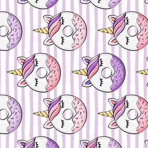 unicorn donuts (purple and pink) on stripes (90)