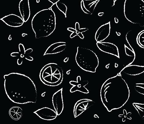 LEMONS BLACK AND WHITE fabric by wxstudio on Spoonflower - custom fabric