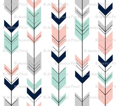 (small scale) pink, aqua, grey, navy fletching arrows C18BS