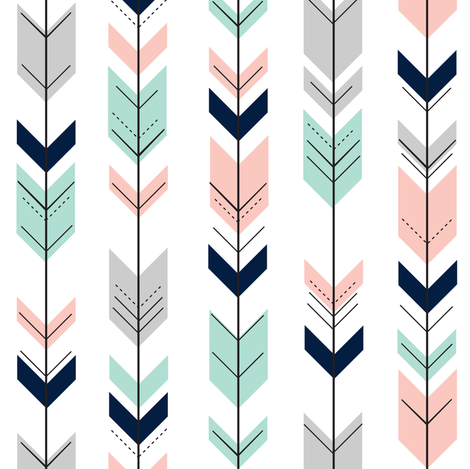(small scale) pink, aqua, grey, navy fletching arrows C18BS fabric by littlearrowdesign on Spoonflower - custom fabric