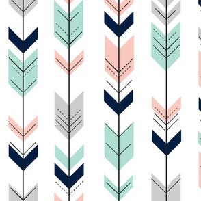 pink, aqua, grey, navy fletching arrows C18BS