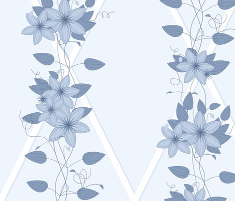 Glory Bower Clematis: Chambray Blues fabric by dept_6 on Spoonflower - custom fabric
