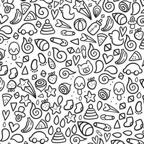 Kids doodles pattern.