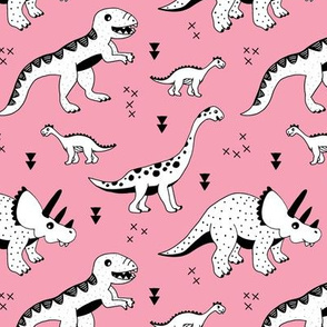 Cool Scandinavian kids dino friends dinosaur pattern girls pink