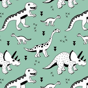 Cool Scandinavian kids dino friends dinosaur pattern gender neutral mint green