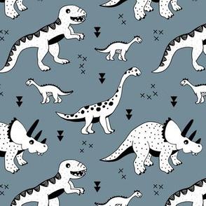 Cool Scandinavian kids dino friends dinosaur pattern stone gray blue