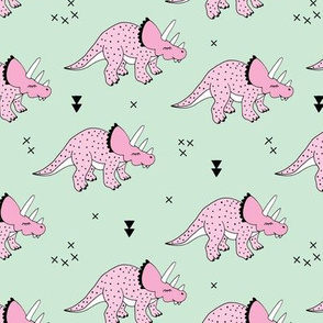Cool girls dinosaurs pink triceratops on mint summer print