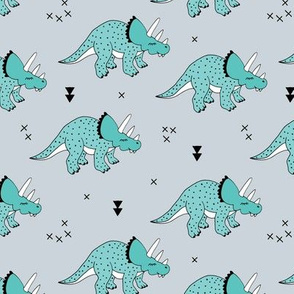 Cool boys dinosaurs blue triceratops on mint summer print