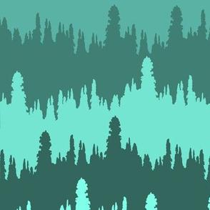 monochrome treeline border print