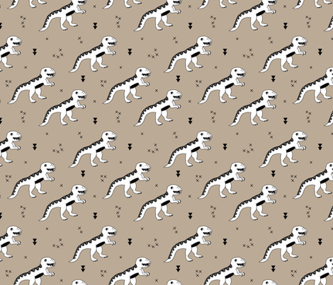 Cool tyrannosaurus dinosaurs history theme for kids brown beige fabric by littlesmilemakers on Spoonflower - custom fabric