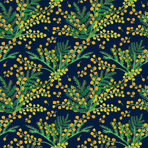 Flowers and twigs of Mimosa on dark blue seamless background