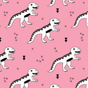 Cool tyrannosaurus dinosaurs history theme for girls in hot pink