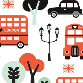 London city black cab big ben and UK union jack travel icons  illustration pattern XL