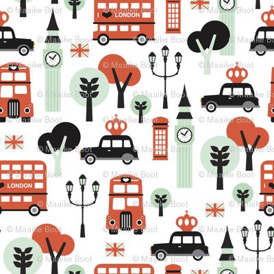 London city black cab big ben and UK union jack travel icons  illustration pattern SMALL
