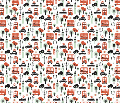 London city black cab big ben and UK union jack travel icons  illustration pattern SMALL fabric by littlesmilemakers on Spoonflower - custom fabric
