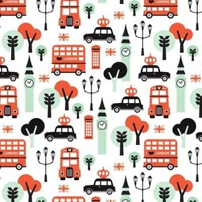 London city black cab big ben and UK union jack travel icons  illustration pattern SMALL