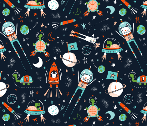 Space Race - Navy Blue fabric by heatherdutton on Spoonflower - custom fabric