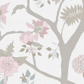 Peony Branch Mural- Muted Pastels