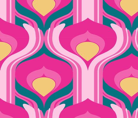 Big pink deco feather fabric by hannafate on Spoonflower - custom fabric