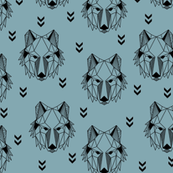 Geometric Wolf (blue pond) Geo Wolves Woodland Animals Baby Boy Nursery Bedding GingerLous