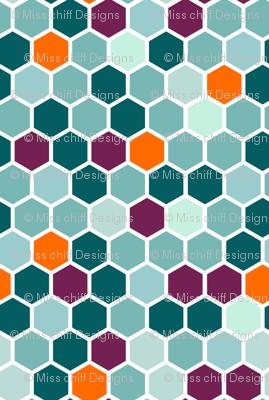 18-7AH Aqua Blue Mint Green Plum Purple Jade Orange Hexie Hexagon Geometric _ Miss Chiff Designs Mint Plum Jade Orange Hexie Hexagon Geometric Quilt Coordinate  _ Miss Chiff Designs