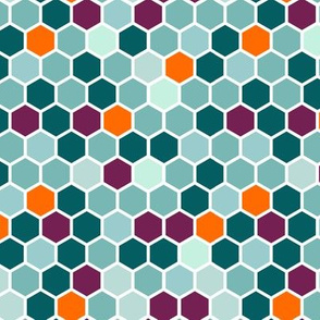 18-7AH Hexagon Aqua Blue Mint Green Plum Purple Jade Orange Hexie Hexagon Geometric _ Miss Chiff Designs Mint Plum Jade Orange Hexie Hexagon Geometric Quilt Coordinate  _ Miss Chiff Designs