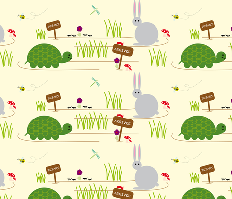le lièvre et la tortue _ tortoise and the hare fabric by alandco on Spoonflower - custom fabric