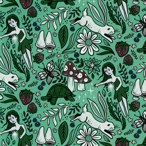Tortoise and Hare Whimsical Forest fabric by roguerenpnw on Spoonflower - custom fabric