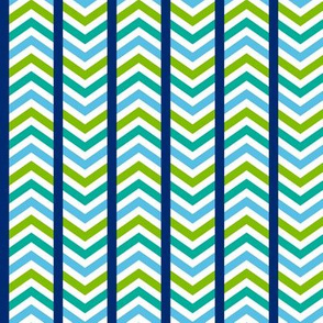 Playful Striped Chevron Blue Green
