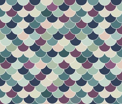 Mermaid Scales - Navy, Pink fabric by fernlesliestudio on Spoonflower - custom fabric
