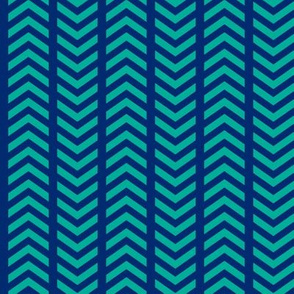 Playful Striped Chevron Blue Teal