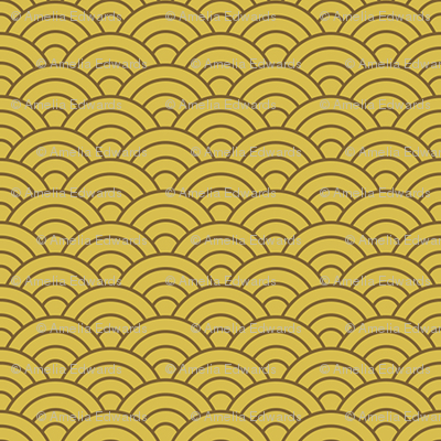 Small Japanese-Style Ripple - Brown on Gold