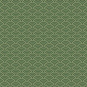 Small Japanese-Style Ripple - Gold on Green
