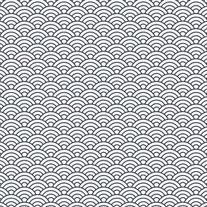Small Japanese-Style Ripple - Navy on White