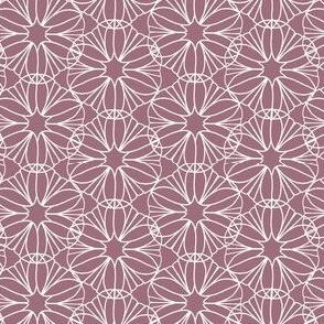 Pink Rose and White Mandala Flowers