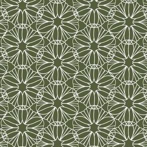 Olive Green and White Mandala Flowers