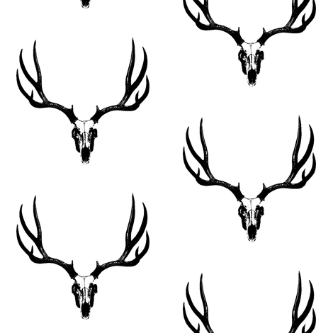 Deer Skulls // Large fabric by thinlinetextiles on Spoonflower - custom fabric